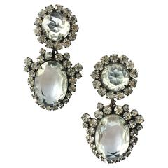 KJL clear and grey paste drop earrings, 1960s