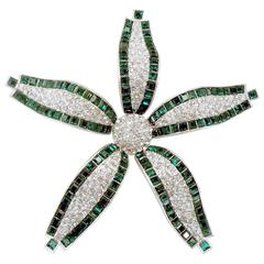 Vintage Signed Magnificent Costume Jewels Huge Faux Emerald Crystal Star Brooch