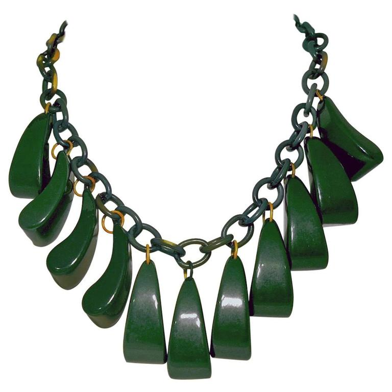 Vintage 1930s Green Bakelite Book Piece Necklace 1
