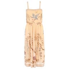 SADIE NEMSER c.1920's Cream Floral Bird Bead Embellished Silk Evening Dress