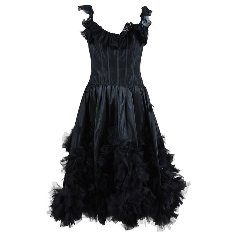 Oscar de la Renta Resort 07 Black Corset Ruffle Dress Size 8 1