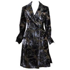 Prada NWT Runway Dark Olive Green Gray Silk Velvet Floral LS Trench Coat Size 42