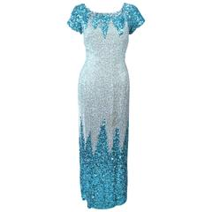 Vintage 1950's Aqua Sequin Cocktail Gown Size 8 10