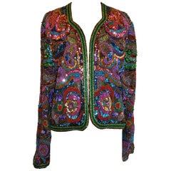 Diane Frez Multi-Color Multi-Beaded Multi-Textured Sequined Evening Jacket
