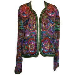 Diane Frez Multi-Color Multi-Beaded Multi-Textured Sequined Evening Jacket