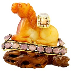Iradj Moini Antique Agate and Jeweled Horse Brooch