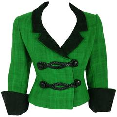 1964 Christian Dior Documented Green & Black Wool Leather Toggles Cuffed Jacket