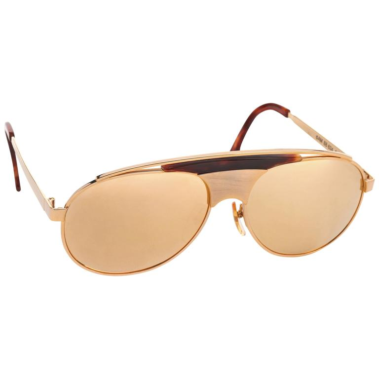 3c39a49a241b ALAIN MIKLI c.1980 s Gold Lens Metal Root Wood Aviator Sunglasses 886340029  For Sale. Vintage ...