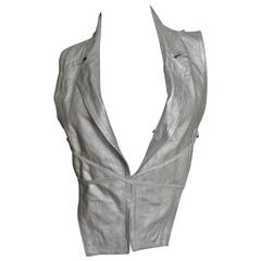 Ann Demeulemeester Grey Leather Lace Up Vest