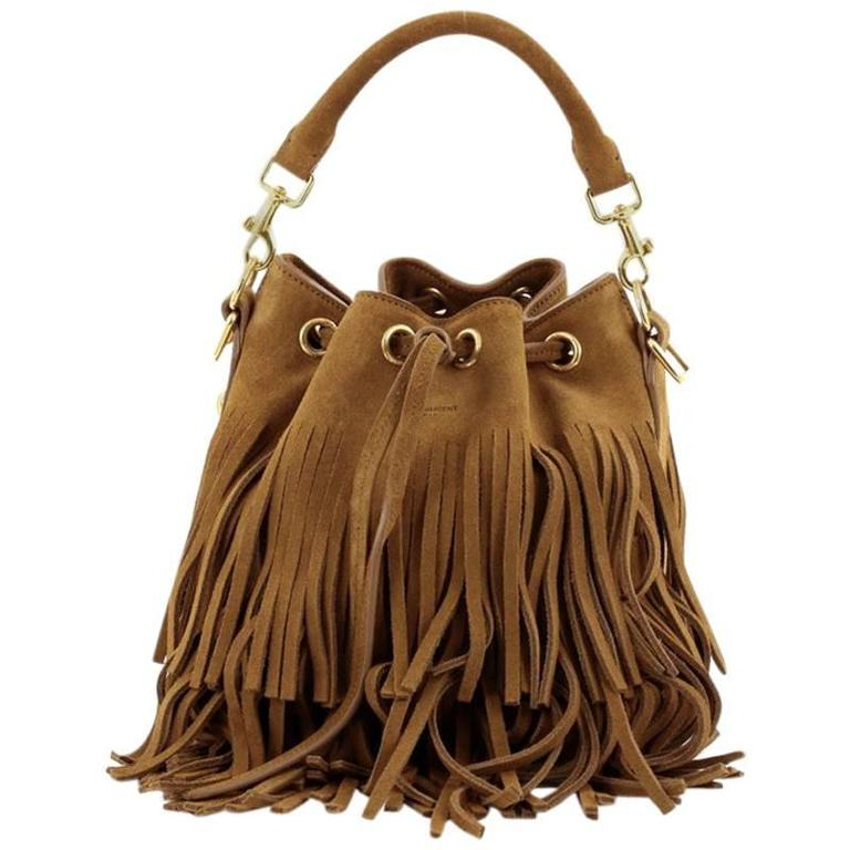 a80360e2e6 Saint Laurent Fringe Emmanuelle Bucket Bag Suede Small at 1stdibs