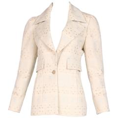 "2001 Chanel Creme Colored Wool Blazer Jacket w/Silver & Gold ""Chanel"" Word Print"