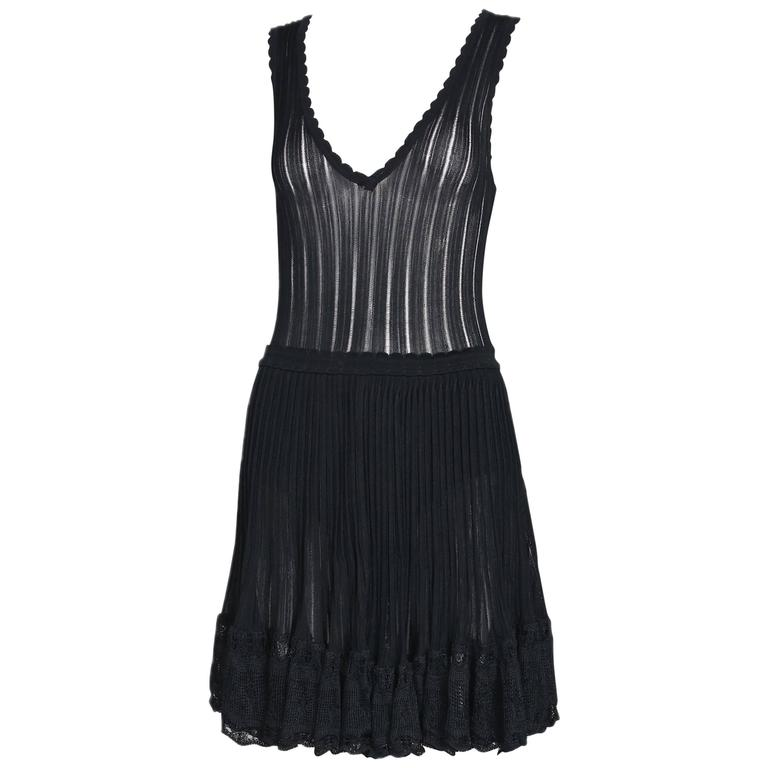Azzedine Alaia Black Ballerina Mini Dress W/Scalloped Hem and Lace Trim For Sale