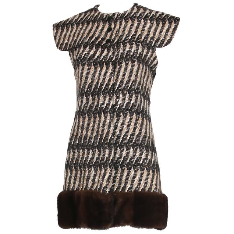 Vintage Pierre Cardin Wool Cap Sleeve Vest W/Mink Trim