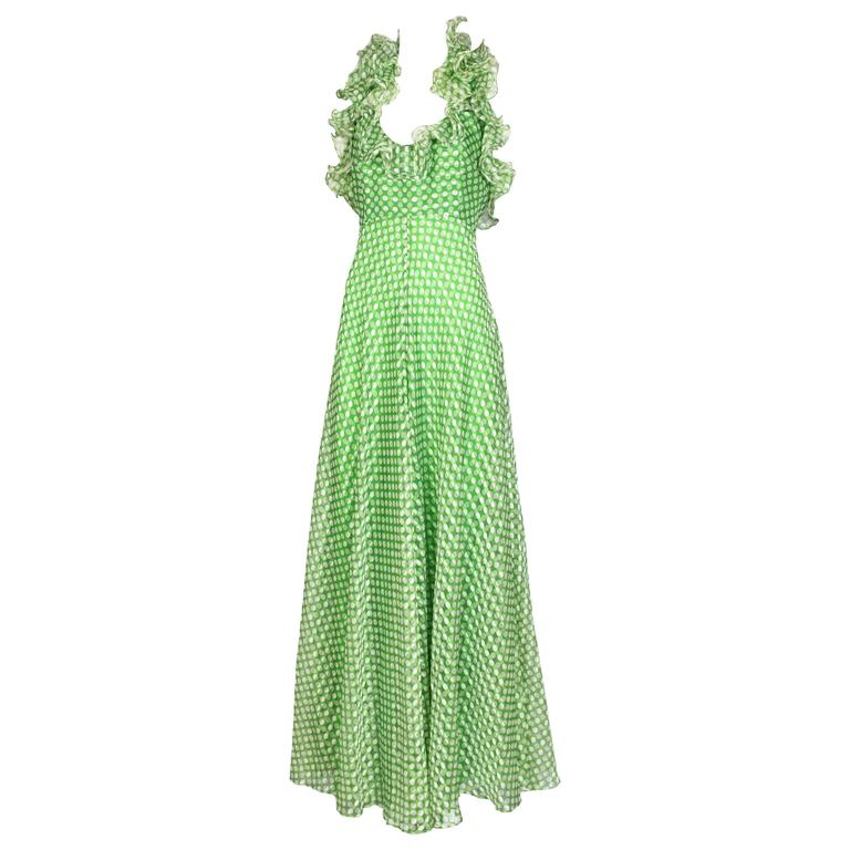 1970's Geoffrey Beene Green Polka Dot Halter Neck Maxi Dress W/Ruffle Trim 1