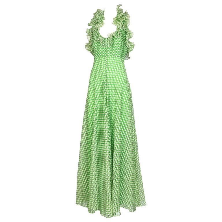 1970's Geoffrey Beene Green Polka Dot Halter Neck Maxi Dress W/Ruffle Trim For Sale