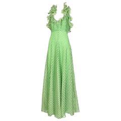 1970's Geoffrey Beene Green Polka Dot Halter Neck Maxi Dress W/Ruffle Trim