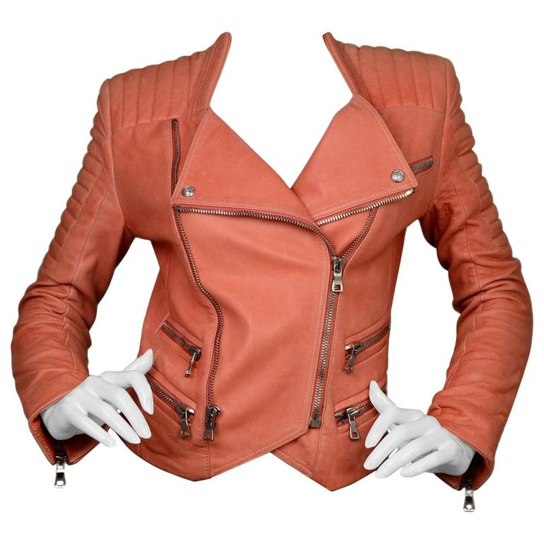 Balmain Salmon Padded Leather Moto Jacket sz FR36 For Sale
