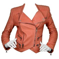 Balmain Salmon Padded Leather Moto Jacket sz FR36