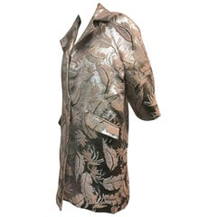 Contemporary Silver Lamé and Pink Champagne Floral Brocade Evening Coat