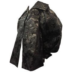 1980s Paul-Louis Orrier 1950s-Inspired Black and Gunmetal Brocade Swing Coat