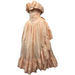 1980s Arnold Scaasi Shell Pink Tissue Silk Strapless Ruffled Ball Gown