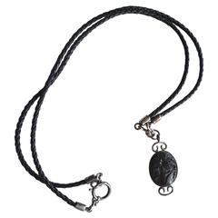 Prada Sterling and Leather Carved Cameo Necklace