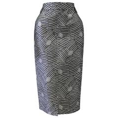 Early Gianni Versace Brocade Silver Lurex Quilted Skirt Spring 1986