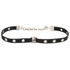 Dior by John Galliano Black Choker with Silver Hardware