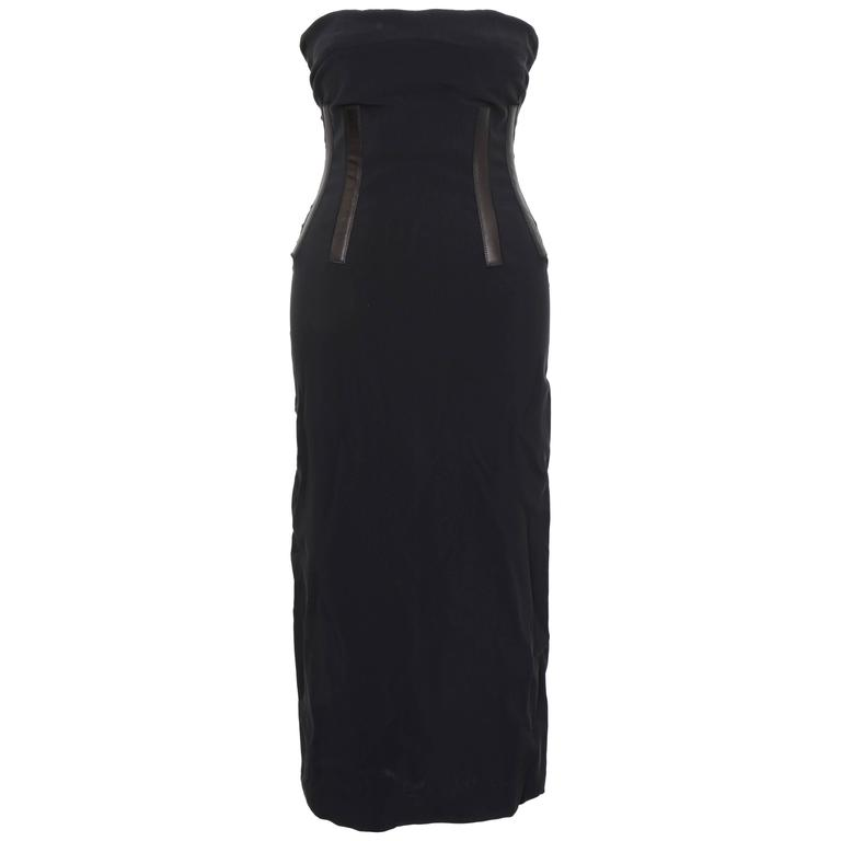 Gucci Black Tube Corset Dress with Leather Inserts