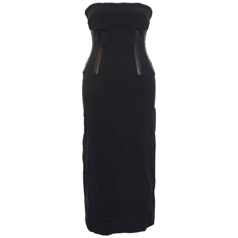 4083695a1 Gucci Black Tube Corset Dress with Leather Inserts For Sale at 1stdibs