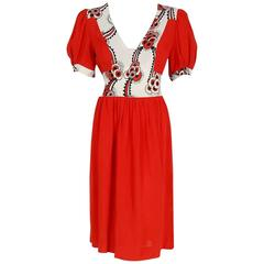 1970's Ossie Clark Red Moss-Crepe Celia Birtwell Floral Print Puff-Sleeve Dress