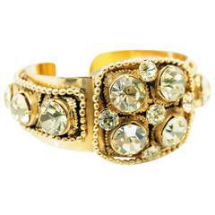 1960s Sandor Ornate Gold and Rhinestone Filigree Cuff