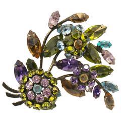 Vintage Schreiner New York Rhinestone Floral En Tremblant Brooch