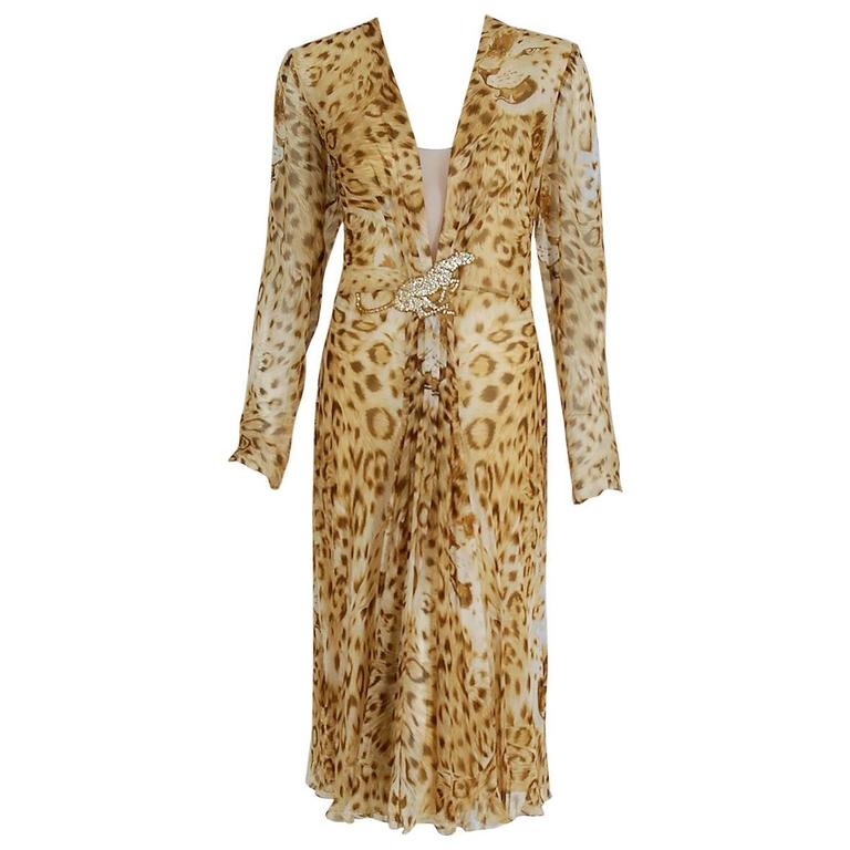 1977 Hanae Mori Couture Leopard Animal Print Chiffon Rhinestone Plunge Dress For Sale