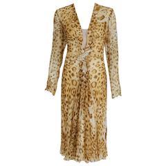 1977 Hanae Mori Couture Leopard Animal Print Chiffon Rhinestone Plunge Dress