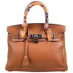 "Hermes ""Gold"" Brown Clemence Grained Leather ""Birkin"" 30cm Bag & ""Twilly"" Scarf"