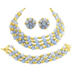 1950s Trifari Grand Parure - Blue Rhinestone with Gold Tone Nugget Spacers
