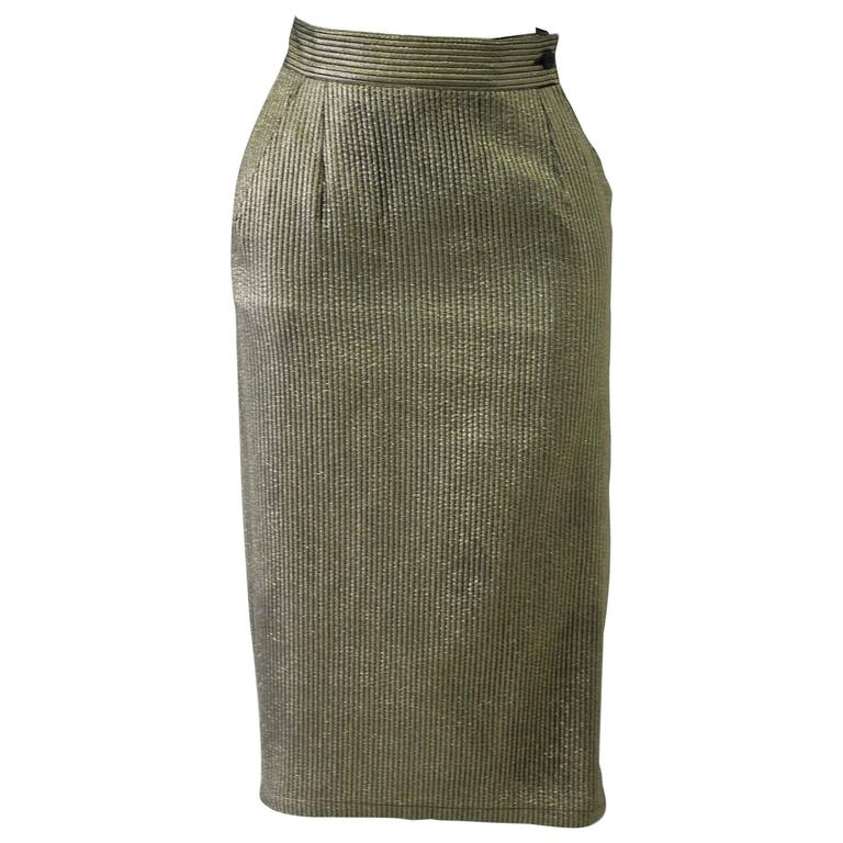 Early Gianni Versace Brocade Gold Lurex Skirt