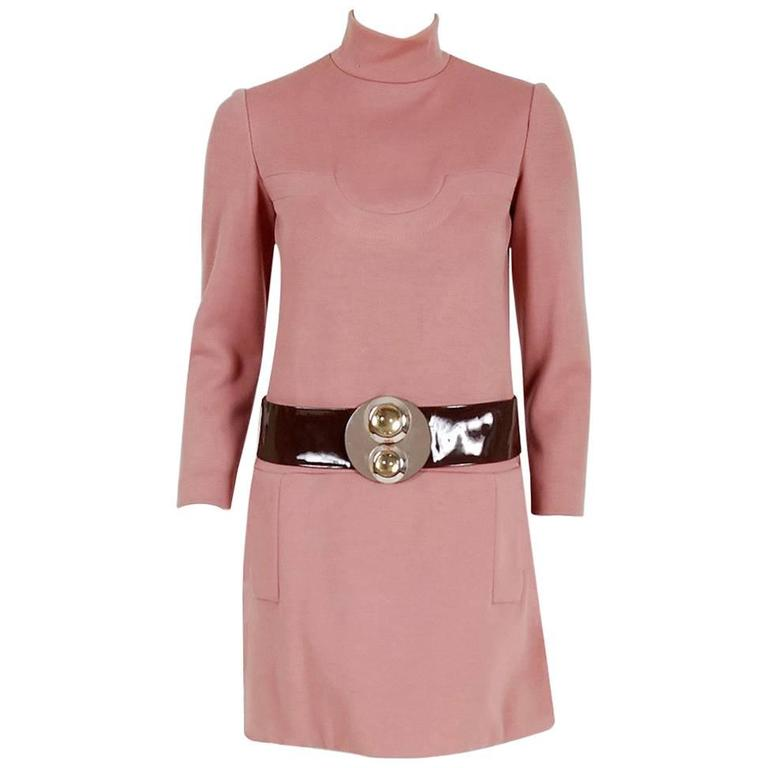 1967 Pierre Cardin Mauve-Pink Wool Mod Pockets Space-Age Metal Belt Mini Dress 1