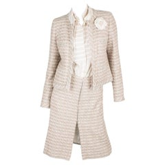 Chanel 3-pcs Suit Jacket, Skirt & Blouse - pink/green/gray/off-white 2003