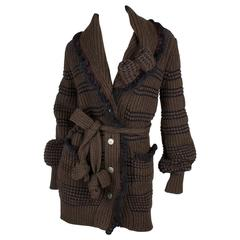 Chanel Wool Cardigan - brown/dark blue