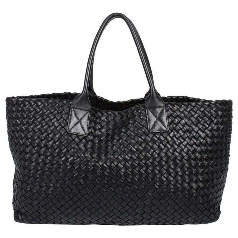 b6a73d08f6 Bottega Veneta Cabat Intrecciato Woven Medium Tote Bag - black at ...