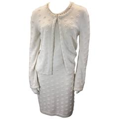 Chanel Winter White Sheath Cashmere Dress w/ Cardigan