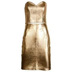 Michael Hoban for North Beach Leather Vintage Metallic Gold Bustier Top + Skirt