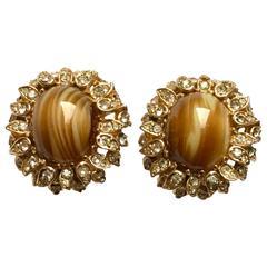 Vintage Ciner Tiger's Eye and Rhinestone Clip Earrings