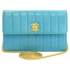 """Vintage Chanel 6"""" Blue Vertical Quilted Leather Shoulder Mini Bag"""
