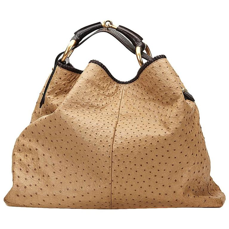 2000s Gucci Beige Ostrich Leather Horsebit Hobo Bag at 1stdibs