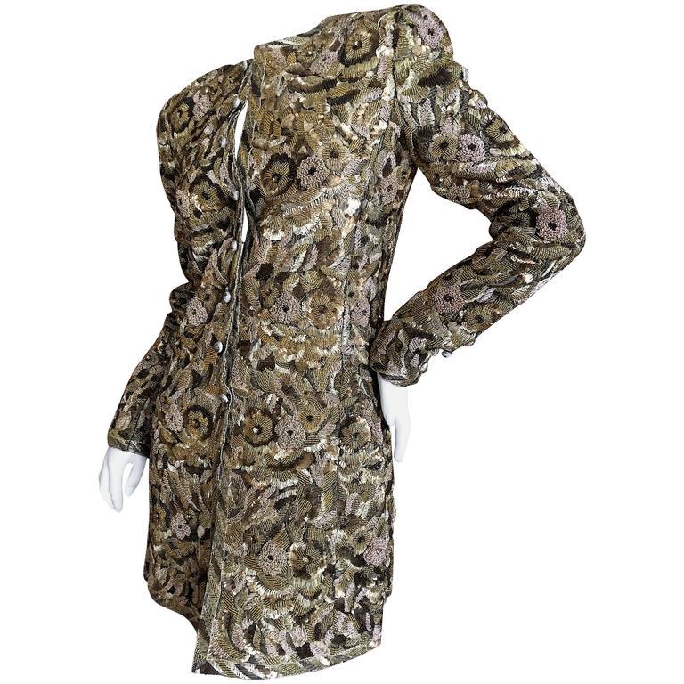 Balmain Haute Couture Lesage Embellished Dress or Jacket by Oscar de la Renta 1