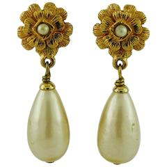 Chanel Vintage Classic Camellia Pearl Drop Clip-On Earrings