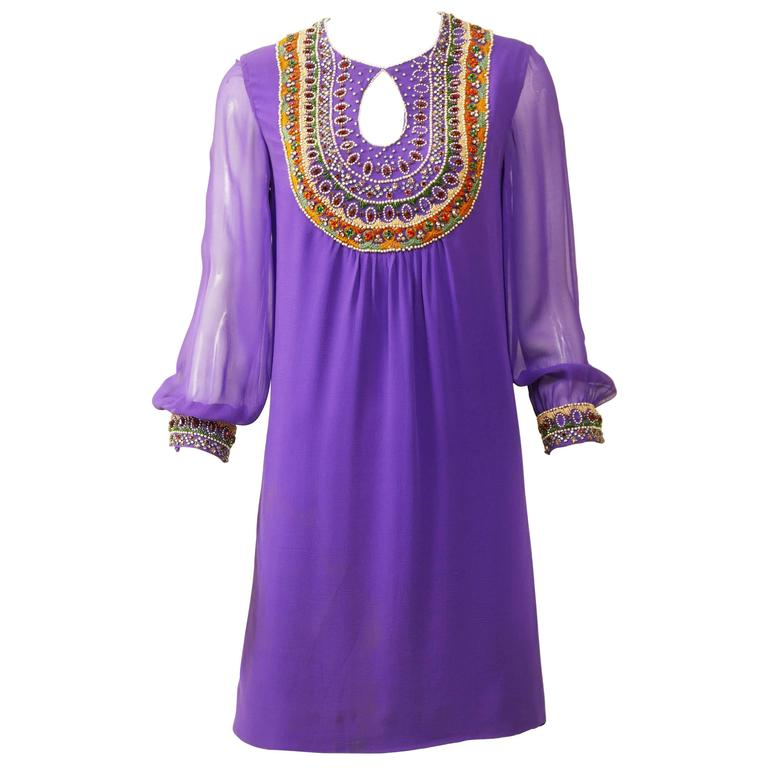 1970s Purple Embroidery Silk Crepe Mini Dress